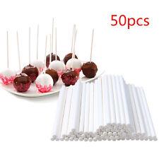 50Pcs Plastic Lollipop Sticks Candy Cookies Chocolate Cake Pop Making White