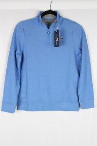 Vineyard Vines Boys' Pique Pima 1/4-Zip Sweater Medium 12-14 Hull Blue