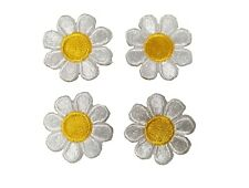 "2987Sw Lot 4Pcs 1"" White Yellow Daisy Flower Embroidery Iron On Applique Patch"