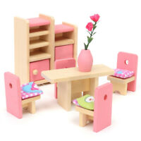 5Pcs Dining Room Set Wooden Doll House Miniature Furniture Kids Children Toy