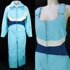 Vintage 80s Profile Snow Suit 2-Piece Ski Set Womens XS/S Blue Jumpsuit Coat