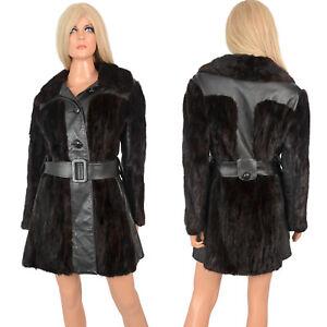 Vintage 60s Mod MAHOGANY MINK FUR and Black Leather Princess Style Coat Belted