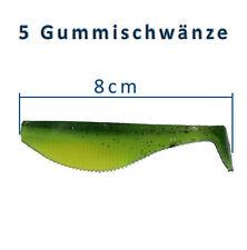 5 Gummifische 8cm Shads Gummischwanz Dorsch Heilbutt Angeln Angelhotspot X4
