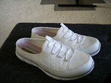 Sketchers Shoes Memory Foam Sz 9.5 White Tenny Style Mule Slip On