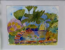 POND AND FOLIAGE WATERCOLOUR PAINTING FRAMED 13.5 X 11.5  INCHES - IMPRESSIONIST