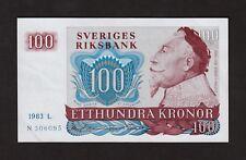 F.C. SUECIA SWEDEN , 100 CORONAS 1983 , EBC+(XF) , ARRUGAS Y PICO DOBLADO ,P.54c