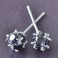 New 9K White Gold Filled Black Onyx Round CZ Square/Cube Set Stud Earrings