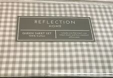 Queen Bed sheet Set 100% Cotton Sateen Gingham Checks Home Decor Spring Sale