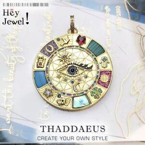 Anhänger Amulett Magische Glückssymbole Vintage Sterling-Silber vergoldet Horus