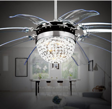 """Home 42"""" Invisible Crystal Fan Ceiling Fan Light Take Off Lamp Remote Control"""
