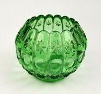 """Vintage Green Glass Pinched Rose Bowl Vase 4"""""""