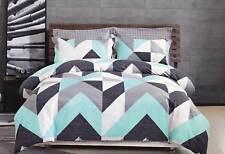 KING size Chevron 100% Cotton aqua Quilt Cover Set /3pc doona duvet cover set