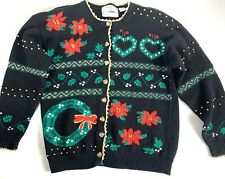 Signatures Northern Isles Christmas Button Sweater Hearts Embroidered Petite L