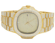 Mens Iced Out Yellow Stainless Steel 40MM PP Simulated Diamond Watch