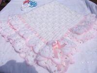 Free P&P Crochet pattern. Baby Blanket size 37 in x 40 in.Christening shawl,