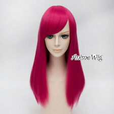 Fashion 55CM Long Magenta Straight Fancy Dress Costume Cosplay Lady Party Wig