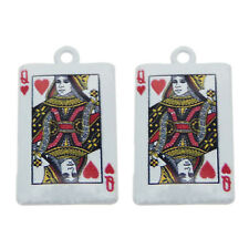 10pcs Jewelry Making Accessories White Heart Queen Poker Alloy Pendants Charms