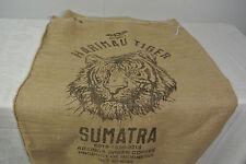 HARIMAU BIG TIGER Head SUMATRA INDONESIA Coffee Bean BURLAP BAG Wall Art Sack