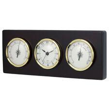 Wall Weather Station Quartz Clock Thermometer Hygrometer Dark Wood Frame New
