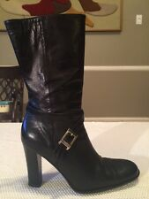 Women's BARNEYS NEW YORK Black Leather Mid Calf Boots Size US 10 Italy 40
