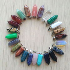 Fashion Assorted Natural Stone Pendulum Mixed Pillar Pendant 24pcs/lot Wholesale