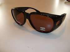 BLUE BLOCKER AMBER Driving sunglasses- LARGE SIZE Use over RX glasses PO1-A