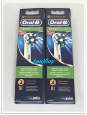 6 BRAUN ORAL B CROSS ACTION TOOTHBRUSH REPLACEMENTS BRUSH HEADS REFILLS