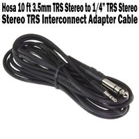 "Hosa 10 ft 3.5mm TRS Stereo Male to 1/4"" TRS Stereo Male Patch Cord Cable NEW"