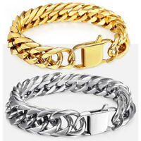 15mm 316L Stainless Steel Mens Chain Curb Cuban Link Bracelet Silver Gold