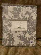 Set 2 Pottery Barn Maris Drape Gray 50x84 Floral Pole Top Pocket Curtains Pair
