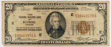 1929 Twenty Dollar $20 NATIONAL CURRENCY Bank Note RICHMOND Virginia