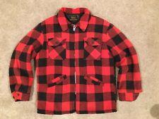 New listing Vintage Sears Sz L Insulated Wool Shirt Jacket Red Black Buffalo Plaid Check