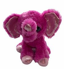 """Aurora Dreamy Eyes Shimmer Elephant Soft Plush 11"""" Pink Toy"""