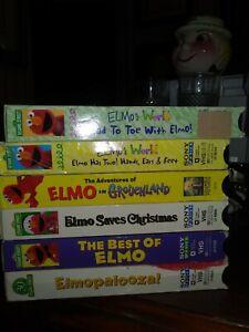 LOT 6 Sesame Street VHS  ELMOS WORLD HEAD TOE GROUCHLAND CHRISTMAS ELMOPALOOZA