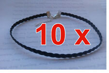"""10 x Black 5mm Plait Braid Faux Leather Cord 13"""" Chokers Necklaces Gothic Tattoo"""