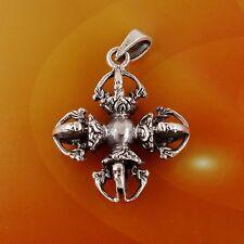 Sterling Silver Double Vajra (Dorje) Thunderbolt Pendant Sanskrit, Free Shipping
