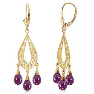 3.75 Carat 14K Solid Yellow Gold Chandelier Earrings Natural Amethyst
