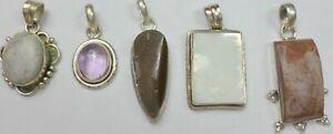 5 Vintage 925 Sterling Silver Jasper MOP Chalcedony Amethyst Pendants 51 Grams
