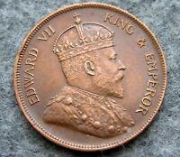 STRAITS SETTLEMENTS MALAYSIA EDWARD VII 1908 1 CENT BRONZE HIGH GRADE