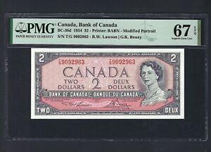 Canada 2 Dollars 1954 BC-38d Uncirculated Graded 67
