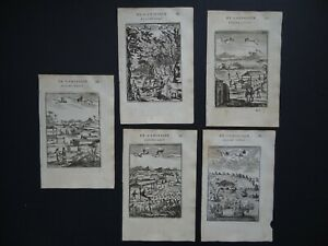 1683 MALLET Atlas 5 x engravings maps Huron People - Plantations - Angra Azores