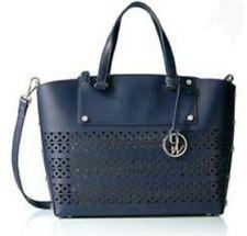 9 Nine West Pacific Blue Leather Handbag  Messenger Satchel Silver Trendy NEW