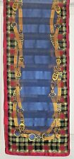 TERRIART Navy, Wine, Gold Plaid, Belts 52x11 Long Scarf-Vintage