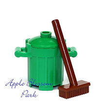 NEW Lego Minifig Green TRASH BIN & BROWN BROOM City Garbage Barrel Container Can
