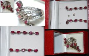 2 Drop With 10 Large Rubies, Ring With 8 Rubies And Numerous Zirconia