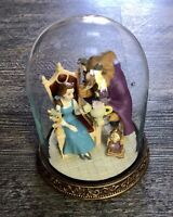 Disney Beauty And The Beast, Belle,Cogsworth,Lumiere Figures Under Glass Dome