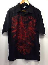 Phy. Sci. Camp Skater Shirt Red Dragon Black Sz Medium Neck 17 SS Polyester A46
