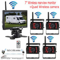 """7"""" Wireless RearView Monitor+4 Quad Wireless Cameras For Truck Trailer RV BUS"""