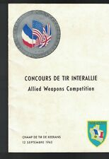 Concours de Tir Interallie 1963 Booklet French Military Shooting Contest