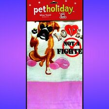 "Boxer Pet Holiday 24"" Wine Towel NEW"